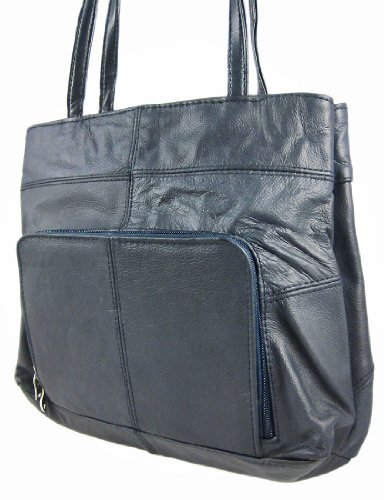 Classic Navy Blue Leather Ladies Purse Shoulder Bag