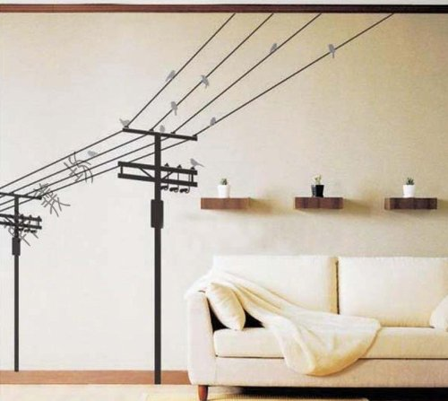 Electric Poles and Birds Repositional Wall Decal - 1