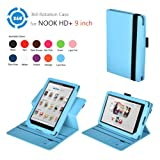 Exact(TM) 360 degree Rotary leather case for Nook HD+ 9 Tablet Light Blue (Support Auto Sleep/Wake Function)