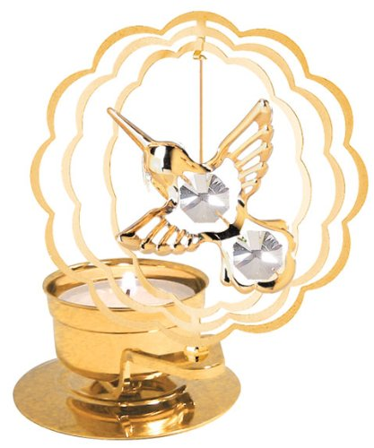 Hummingbird In Scallop Circle Tea-Light..... With Clear Swarovski Austrian Crystal front-780714