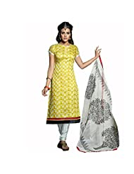 EthnicCrush Yellow Chanderi Cotton Unstitched Embroidered Salwar Kameez