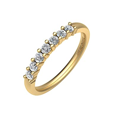 Diamond Delight Women's 14K 7 Stone Prong Set Wedding Ring (VVS1-VVS2, 1/4 Carat)