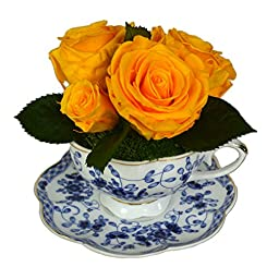 Luxe Bloom Home Collection   Royal Blue Porcelain Tea Cup with 5 Daffodil Preserved Roses   Lasts 60 days   Perfect home decor accent or gift for Summer, Wedding Showers, Bridesmaids or any occasion
