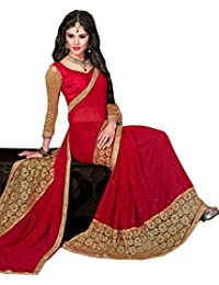 White World Women'S Georgette Saree With Blouse Piece (1## Red_Russal_Saree_Red)