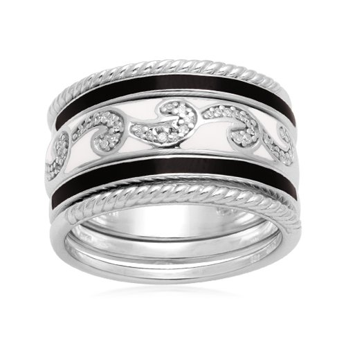 Sterling Silver Black White Enamel Swirl Diamond Stack Ring (1/10 cttw, I-J Color, I2-I3 Clarity), Size 5