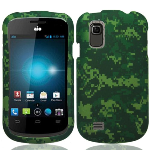 Zte Prelude Z993 / Avail 2 Z992 (Aio Wireless/At&T) 2 Piece Snap On Glossy Plastic Image Case Cover, Green Army Camouflage Design + Lcd Clear Screen Saver Protector