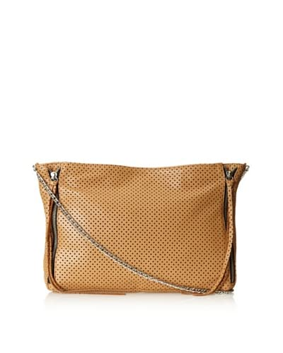 Posse Women's Cruz Cross-Body with Zippers, Camel Perforated, One Size