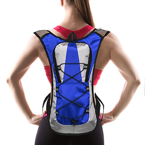 Hydration Pack with 1.5 L Water Backpack Bladder. Adjustable Straps. Ideal for Running, Cycling, Bike/hiking, Climbing. Lightweight (70 Oz) and Waterproof Means You'll Never Run Out of Water (Blue)