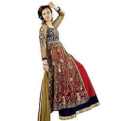 EthnicCrush Red , BlueNet Semi Stitched Embroidered Salwar Kameez