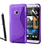 HTC One M7 Grip Wave S Line Silicone Case Gel Skin Cover + Screen Protector + Stylus (Purple)