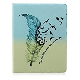 WONE Cartoon Cute PU Leather Flip Case with Cards Slots for Apple iPad MINI(Feather&Birds)