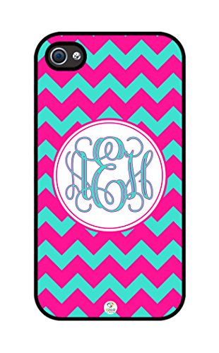 Izercase Monogram Personalized Deep Pink And Turquoise Chevron Pattern Rubber Iphone 4 Case - Fits Iphone 4 & Iphone 4S T-Mobile, Verizon, At&T, Sprint And International (Black)