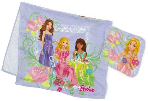 Barbie 2-Piece Bath/Wash Fiber Reactive Print Towel Set with LED Lights