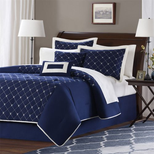 Zebra microfiber full queen down alternative comforter mini set blue