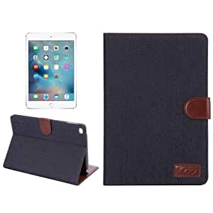 Crazy4Gadget Denim Texture Leather Case with Card Slots & Holder & Wallet & Sleep / Wake-up Function for iPad mini 4 (Black)