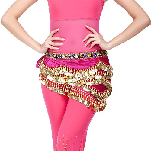 Dance Fairy Rose Red Belly Dance Scarf 328 Gold Coins Colorful Rhinestone.