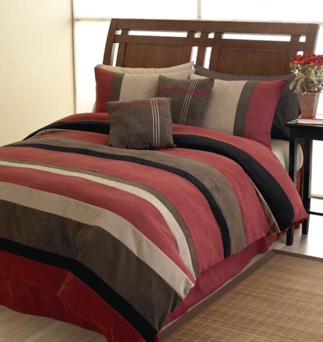 BrickRed Jacaranda Striped Micro Suede Luxury Bed in a Bag Comforter 6 piece Bedding Set