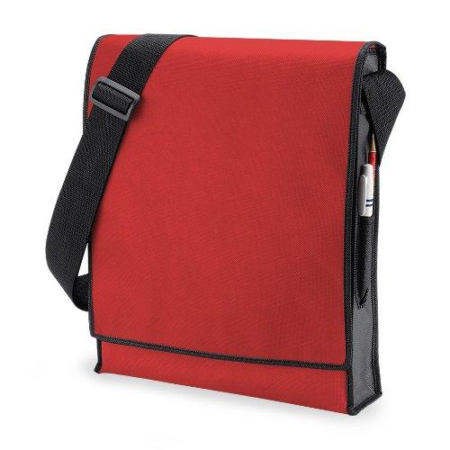 BagBase Budget - Borsa Messenger Verticale - 10 Litri (Taglia unica) (Rosso/Nero)