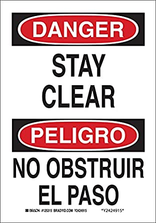 """/No Obstruir El Paso"""", 14"""" Height, 10"""" Width, Black and Red on White"""