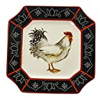 Stoneware Right-Facing White Rooster Dinner Plate