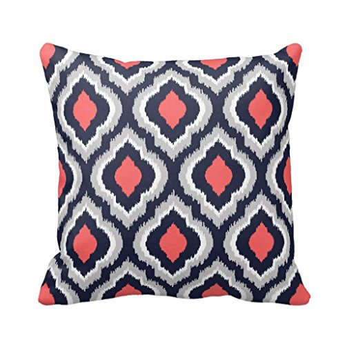 Gray,Coral Pink and Navy Blue Ikat Pillow Cover