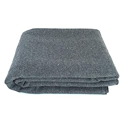 "EKTOS 90% Wool Blanket, Grey, Warm & Heavy 4.4 lbs, Large Washable 66""x90"" Size, Perfect for Outdoor Camping, Survival & Emergency Prepardness Use from EKTOS"
