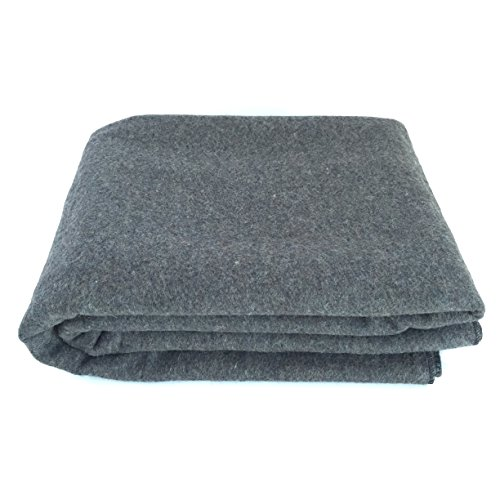 EKTOS-90-Wool-Blanket-Grey-Warm-Heavy-44-lbs-Large-Washable-66x90-Size-Perfect-for-Outdoor-Camping-Survival-Emergency-Preparedness-Use