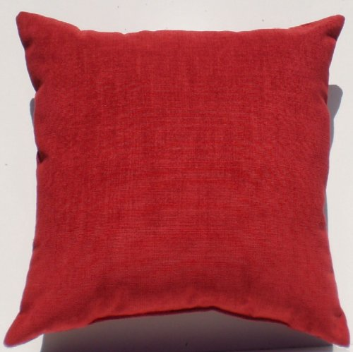 """Crinkle Weave Chenille Deep Cherry Red, 16""""X16"""" Decorative Throw Pillow; Fully Assembled And Stuffed In The U.S.A front-150784"""