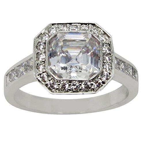 Antique Vintage Style Halo Asscher Cut Engagement Ring Size 6