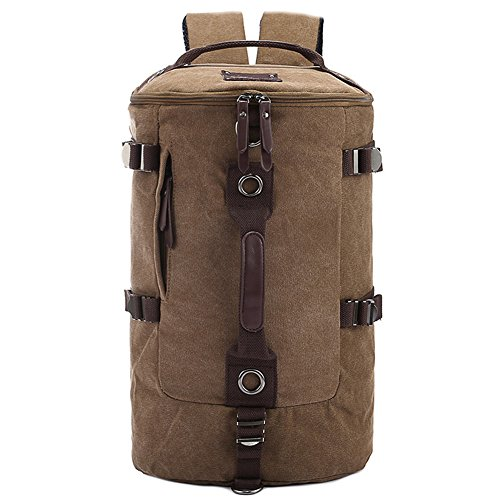 FTSUCQ Mens Canvas Backpack Travel Daypack Tote bag Brown Camping Handbags (Party City Melbourne)