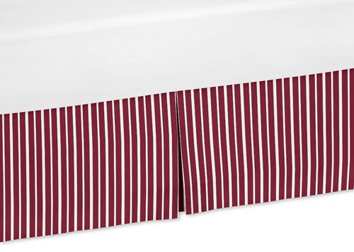 Sweet Jojo Designs Red and White Stripe Crib Bed Skirt Dust Ruffle for Aviator Collection Bedding Sets (Vintage White Crib compare prices)