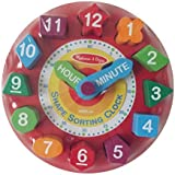 Melissa and Doug Shape Sorting Clock-helps Children Learn Colors, Shapes, Time, Hand Eye Coordination and Counting Skills