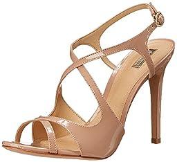 Schutz Women\'s Esadora Dress Sandal, Peach Patent, 9 M US