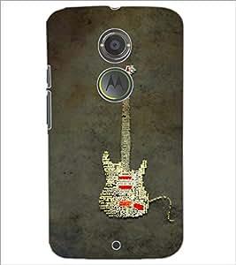 PrintDhaba Typographic Guitar D-3857 Back Case Cover for MOTOROLA MOTO X2 (Multi-Coloured)