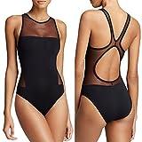 JIANLANPTT High Neck One Piece Beachwear Black Swimwear Swimsuit for Women Girls(L=US M,Black)