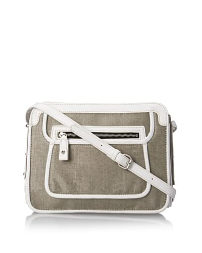 London Fog Women's Piper Top-Zip Shoulder Bag  [Silver/White]