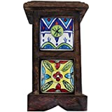 2 Drawer Handmade Chest Of Drawer Wooden Frame Masala Jar Rack Multicolor Spice Box Handmade Painting Pattern... - B01EFMOMIO