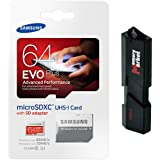 Samsung Evo Plus 64GB MicroSD XC Class 10 UHS-1 Mobile Memory Card For Samsung Galaxy S7 & S7 Edge With USB 3.0 Ultra High Speed MemoryMarket Dual Slot MicroSD & SD Memory Card Reader