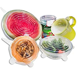 Zhide Silicone Stretch Lids Covers 6 Pack Dishwasher and Freezer Safe,4 Bright Colors Available (Transparent)