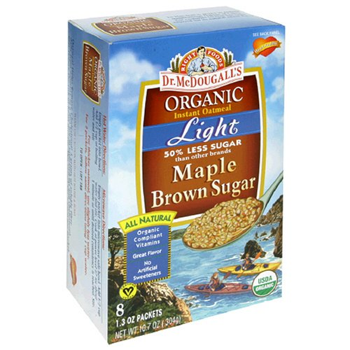 Dr. McDougall's Right Foods Organic Instant Oatmeal, Light Maple Brown Sugar, 1.3 Ounce Packets, 8-Count Boxes (Pack of 6)