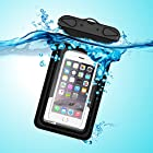 Waterproof Case, Waterproof Pouch, iThrough Ultra Universal Waterproof Pouch, Waterproof Case with 3.5mm AUX Cable, Touch Responsive Transparent Screen Protector for iPhone 6/6 Plus/5/5s/5c/4/4s/Samsung Galaxy S3/S4/S5/Note 2/3/4 (Black)