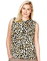 Plus Animal Print Sleeveless Buttoned Blouse