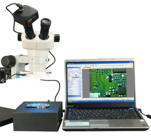 Omax 6X-50X Binocular Zoom Stereo Microscope+Boom Stand+54 Led Ring Light+14Mp Usb Camera