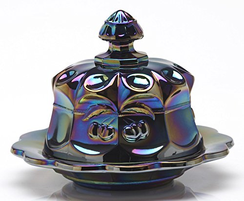 Butterdish - Cherry & Cable Pattern Mosser Glass US (Black Amethyst Carnival) Crystal Carnival Glass