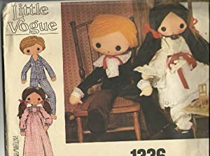 BOY AND GIRL DOLL AND CLOTHES - 32 INCH DOLLS -LITTLE VOGUE SEWING PATTERN 1336