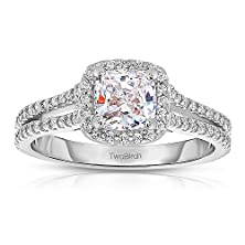buy 1.16 Ct. Cz Cushion Cut Halo Engagement Ring Set Including Matching Wedding Ring In 14K White Gold (2.41 Ct. Twt.)