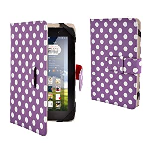 Purple & white polka dot Dots Premim PU Luxury Leather Folio Flip Case Cover Protection Skin For 7