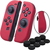 YoRHa Hand grip Silicone Cover Skin Case x 2 for Switch/NS/NX Joy-Con controller (red) With Joy-Con thumb grips x 8 (Color: Red, Tamaño: JOY-CON)