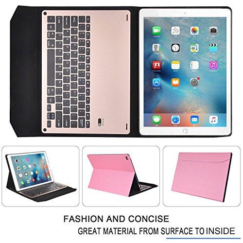 iPad Proケース,IVSO®オリジナルiPad Pro ケース iPad Pro 専用 超薄型Bluetooth接続キーボード 内蔵アルミケース キーボード兼スタンド兼カバー - iPad Proだけ 適用 (ピンク)