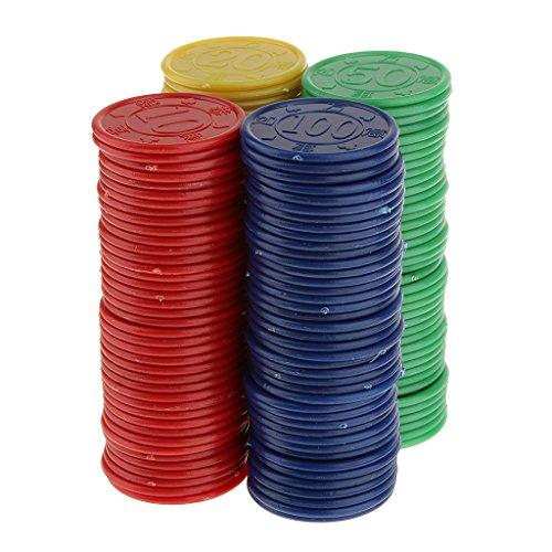 160 Jetons de Poker en Plastique -Machine de Jeu de Mahjong-Jeu de Casino - Bleu Jaune Vert Rouge